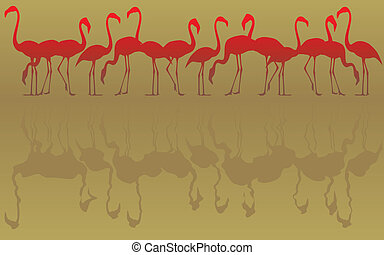 Editable vector illustration of a flock of flamingos and reflections