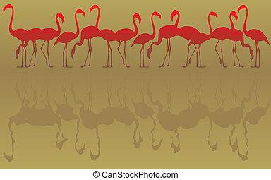 Flamingos - Editable vector illustration of a flock of...