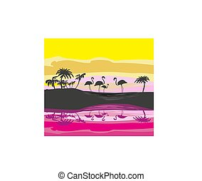 flamingos in wild nature landscape, silhouette illustration