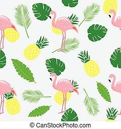 flamingos pink palms