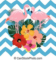Flamingos - vector topical flamingos and flowers
