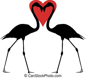 Flamingos with red heart