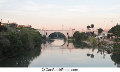 Flaminio Bridge in Rome - zoom over the Flaminio bridge in...