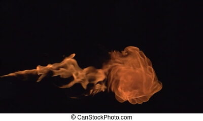 Flammable Gas - Fire ignites a stream of flammable liquid on...