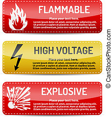 Flammable, High Voltage, Explosive - Danger sign set -...