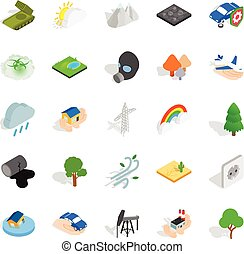 Flammable icons set, isometric style