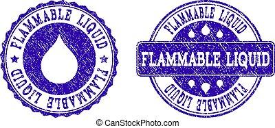 Flammable Liquid Grunge Stamp Seals