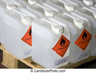Flammable Liquid in a Plastic Container