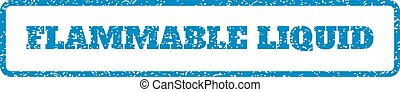 Flammable Liquid Rubber Stamp - Blue rubber seal stamp with...