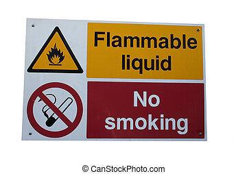 Flammable liquid sign