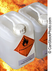 Flammable Liquid Container with Fire Background