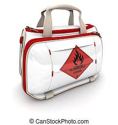 Flammable liquid - Handbag with a flammable liquid warning...