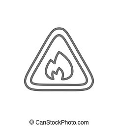 Flammable sign, firefighting, no fire line icon.