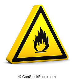 Flammable yellow sign on a white background. Part of a series.