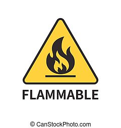flammable sign icon in yellow triangle, flat design symbol