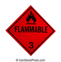 flammable sign isolated on white with clipping path at...