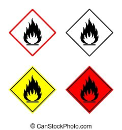 flammable sign set