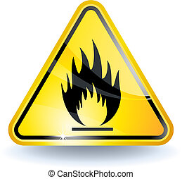 Flammable sign with glossy yellow surface