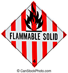 Flammable Solid Sign - Placard or sign warning of a...