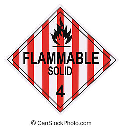 United States Department of Transportation flammable solid warning placard isolated on white