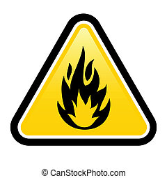 Flammable - Warning sign of flammable product. Illustration...