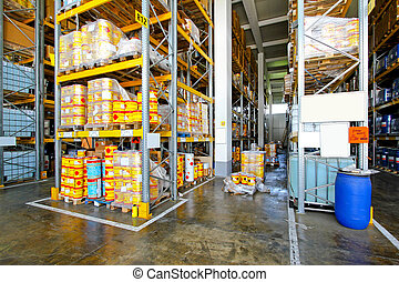 Flammable warehouse - Warehouse with flammable material in...