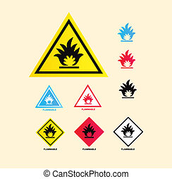 Flammable warning sign - Vector collection of warning signs...