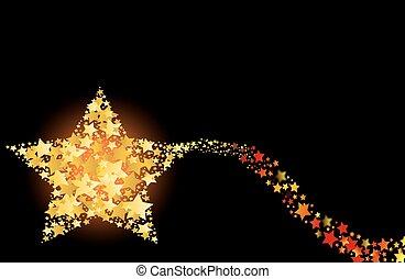 flammande, abstrakt, komet, skjutning, gol