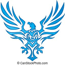 flamme, aigle, bleu, tatouage