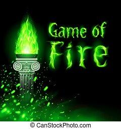 flamme, ancien, colonne