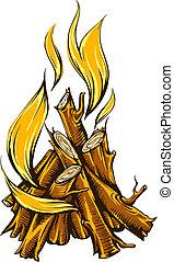 flamme, brûler, de, feu camp, à, bois brûler