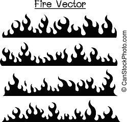 flamme, &, brûler, icône, ensemble