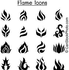 flamme, brulure, ensemble, brûler, icône