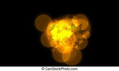 flamme, cercle, étoiles, doré