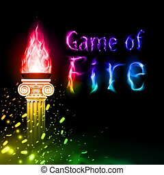 flamme, colonne, ancien