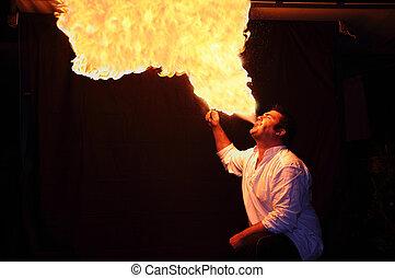 flamme, cracheur feu