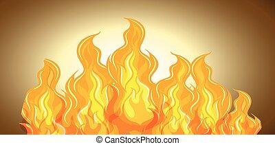 flamme, de, brûler, fond