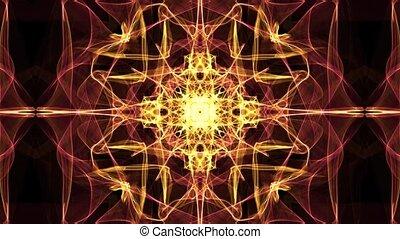 flamme, doré, tunnel, convergent, luxueux, motifs, fond, brillant, mouvement, résumé, ornement