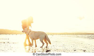 flamme, effet, chien, lentille, jouer, hipster, pendant, girl, fort, plage, coucher soleil