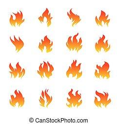 flamme, ensemble, graphique, elements., blanc, contour, icônes, arrière-plan., brûler, illustration, vecteur