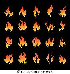 flamme, ensemble, graphique, elements., contour, icônes, noir, arrière-plan., brûler, illustration, vecteur