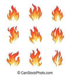 flamme, ensemble, icons., graphique, elements., contour, brûler, illustration, vecteur
