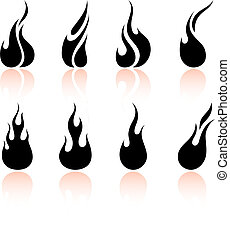 flamme, et, brûler