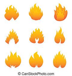 flamme, et, brûler, symboles