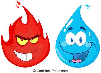 flamme, et, eau