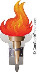 flamme, et, torche