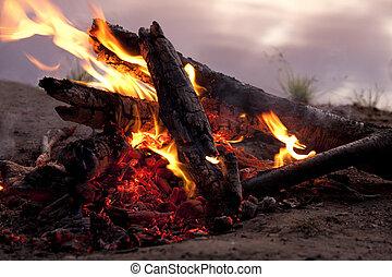 flamme, feu, eau, Romantique