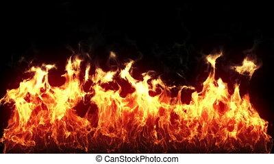 flamme, hd, -, boucle