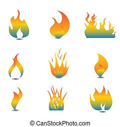 flamme, icône, ensemble