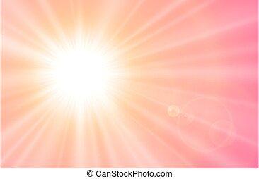 flamme, lentille, soleil
